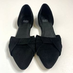 Eileen Fisher 7 Black Suede D'Orsay Bow Flats